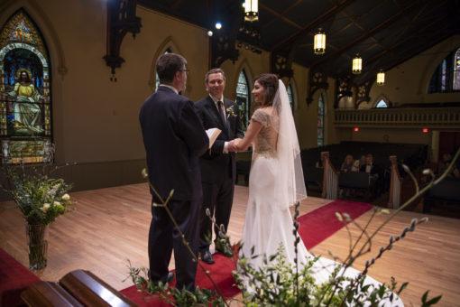 Wedding with social distance at Saint James Place Great Barrington MA