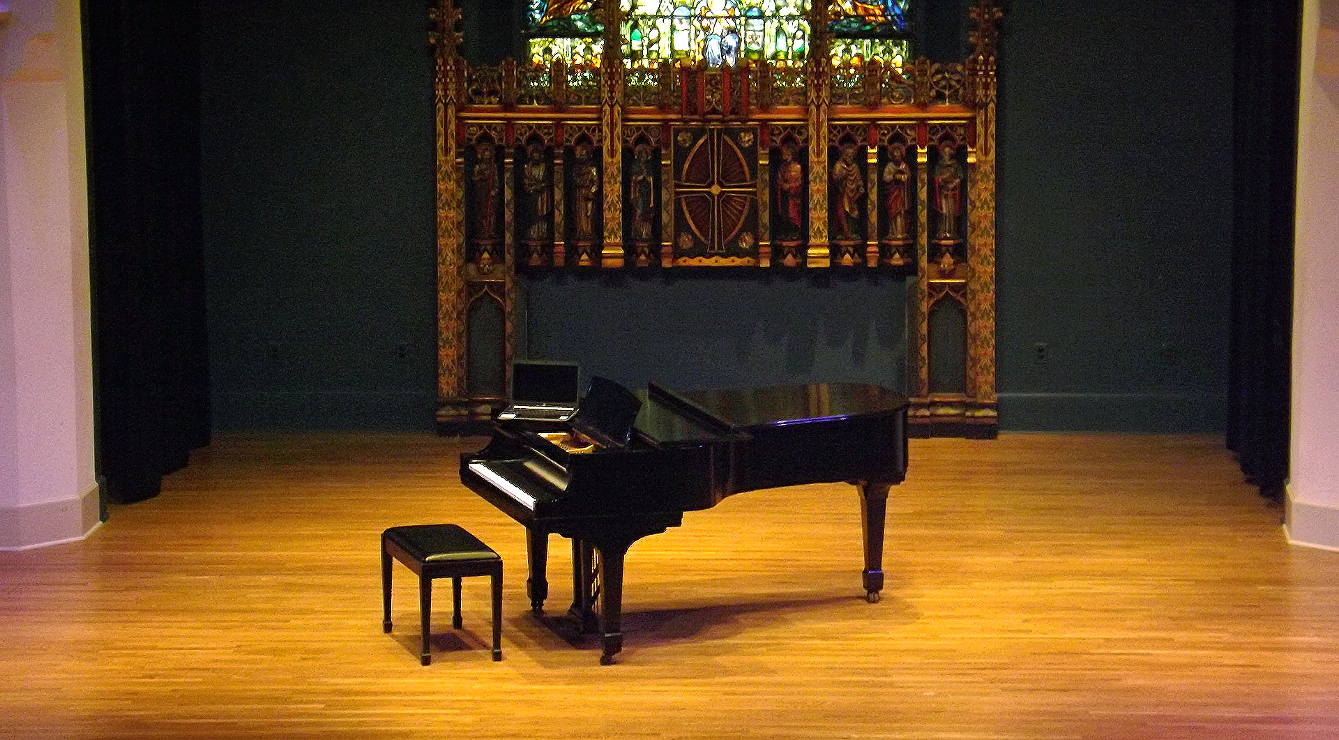 Live chamber music in the Berkshires - piano on Saint James Place stage in Great Barrington, MA